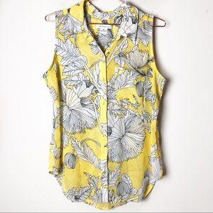 Liz Claiborne Yellow Floral Sleeveless Top